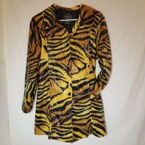 Selene Tiger Striped Funky Disco Trenchcoat XL